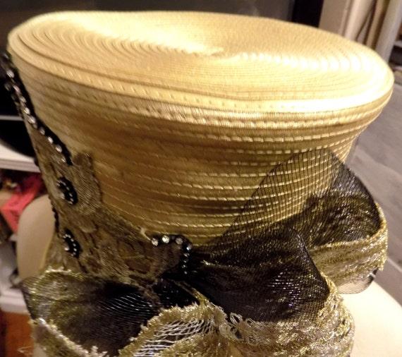 Reduced VINTAGE GOLD CLOCHE Hat/Kentucky Derby Hat