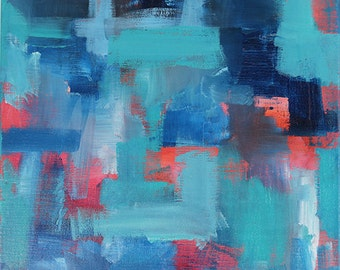 Blue Noise With A Tint Of Hope 1 // Artist Charlie Albright // Blog Moments by Charlie // Abstract Art in Acrylic Paint