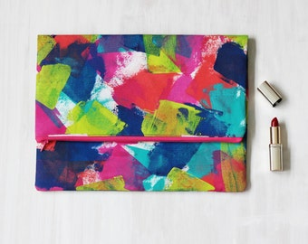 Foldover Zip Clutch/Purse. Handpainted on Cotton Canvas Duck, Artist Charlie Albright from Moments by Charlie