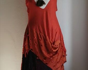 Subtraction cutting asymmetric Burning Man festival dress. Wearable art. Orange plus size dress. Size xxl. Steampunk inspired.