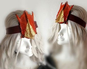 Burning Man taxidermy bone headpiece orange and gold. Post apocalyptic headgear. One of a kind. Handmade wearable art.