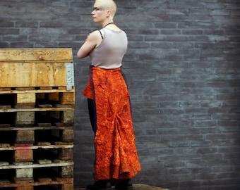 Steampunk silk skirt with trail / Burning Man festival skirt / post apocalyptic skirt in orange silk. Size s-xl