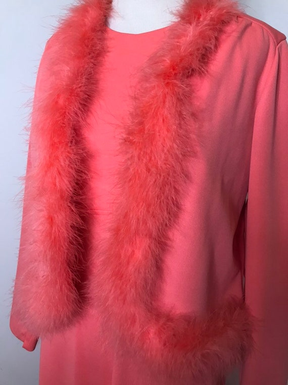 1960s Pink Full Length Maxi Gown with Feather Trim