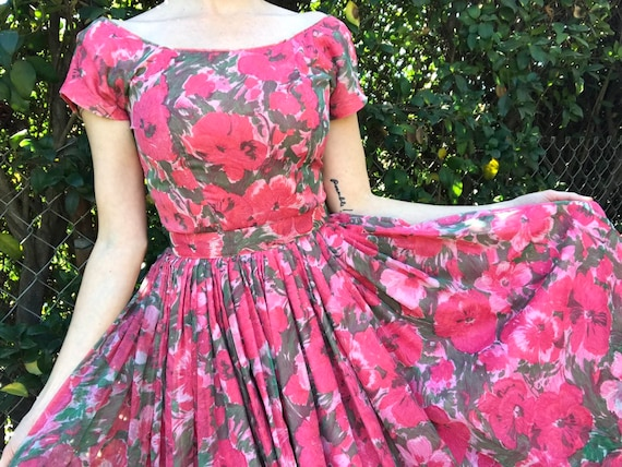 Vintage 1950's 50s Gigi Young Pink Floral Chiffon