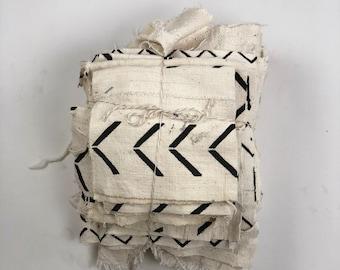 Bundles Of scrap fabric // Scrap Mudcloth // scrap Ivory Coat //