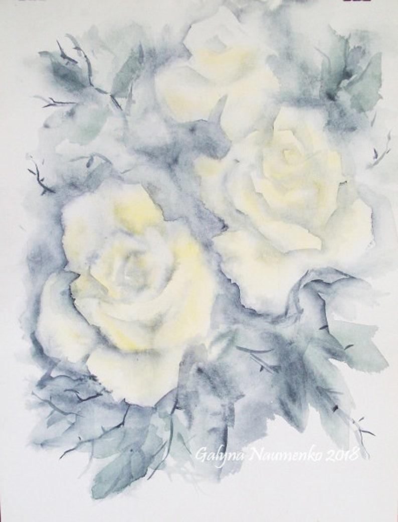 Roses Tea Roses Watercolor Roses Painting Flower Painting Etsy