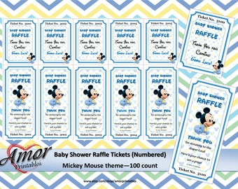 Mickey Mouse Baby Shower Raffle Ticket 100 Unique Numbers Printable Raffles Tickets