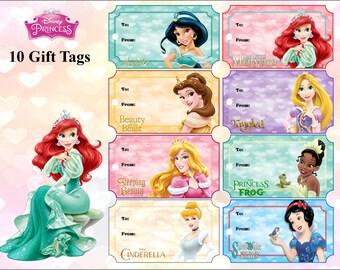 Printable disney princess christmas gift tags