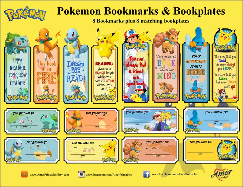 photograph regarding Printable Bookmarks for Kids identify Pokemon Printable Bookmarks and Bookplates; bookmarks; small children bookmarks
