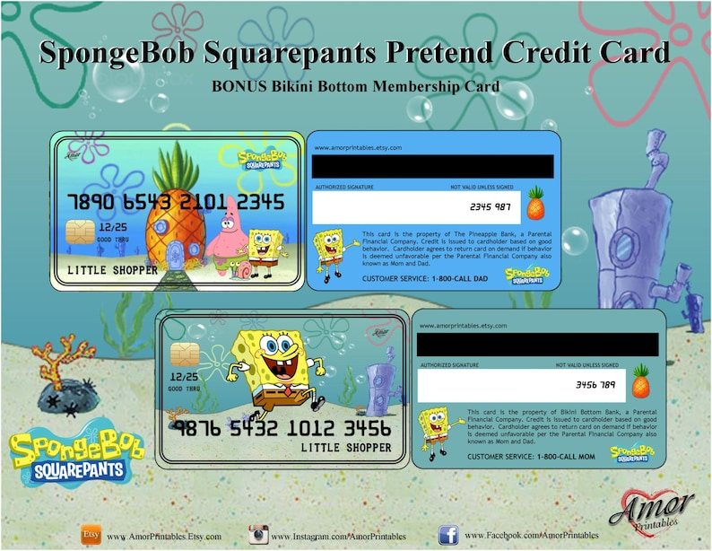 graphic regarding Printable Membership Cards identified as SpongeBob Credit score Playing cards Subscription Card SpongeBob Squarepants  SpongeBob Bash Social gathering Printable Bash Favors Engage in Financial