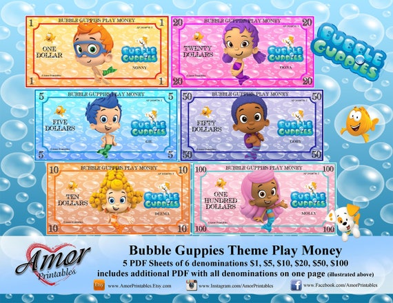 Bubble guppies play money bubble guppies party printable etsy image 0 maxwellsz