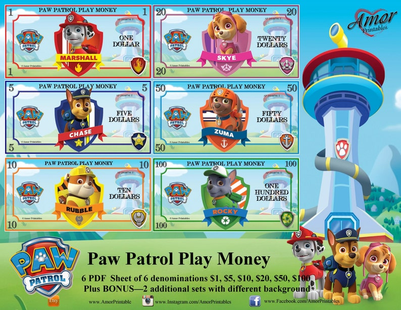 graphic regarding Printable Money Games named Engage in Financial - Paw Patrol, Deal, Printable Game titles; Printables Favors, Get together Printables