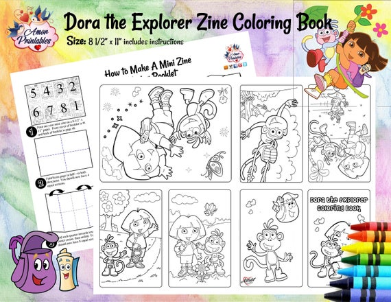 Dora The Explorer Mini Coloring Pages Mini Zine Coloring Etsy