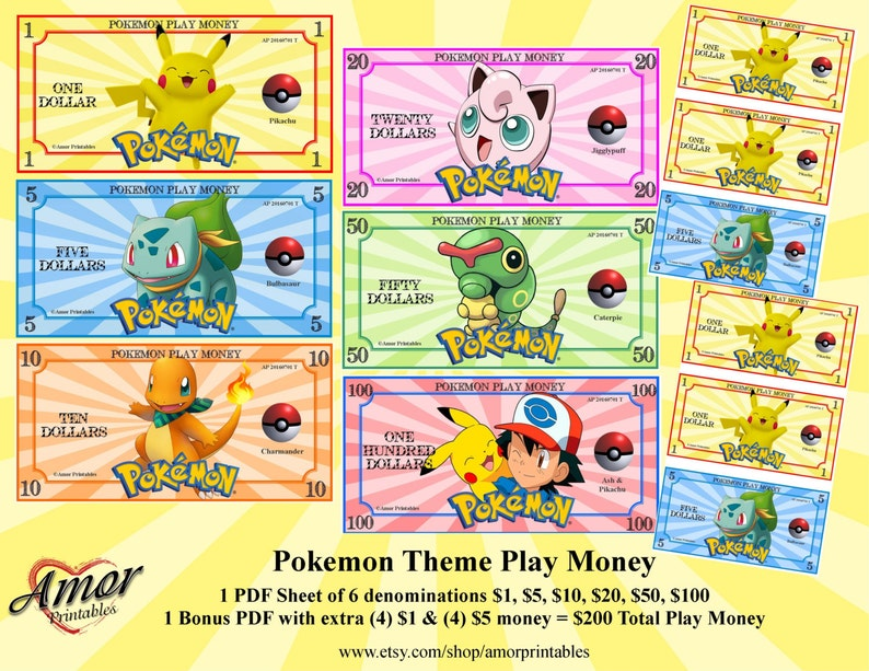 photo regarding Toy Money Printable titled Pokemon Engage in Funds Pokemon Get together Pokemon Printables Occasion Printables  Finding out Fiscal Untrue Dollars