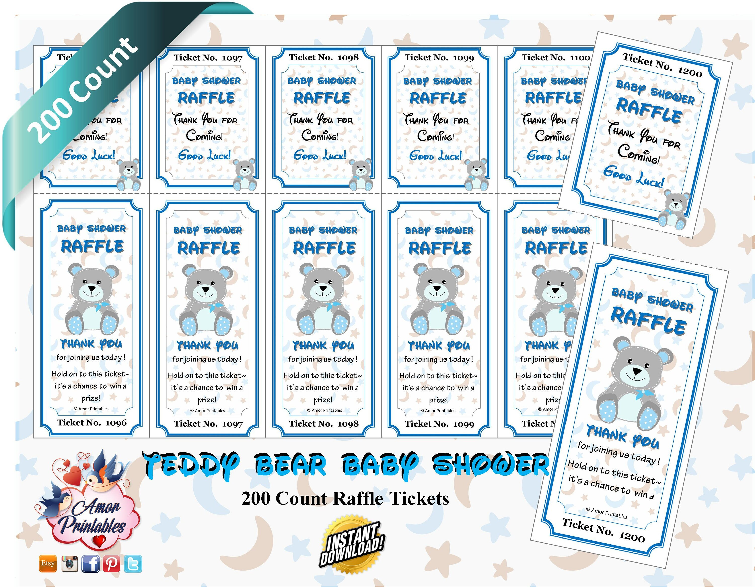 200 NUMBERED Baby Shower Raffle Tickets Teddy Bear Blue/Grey | Etsy