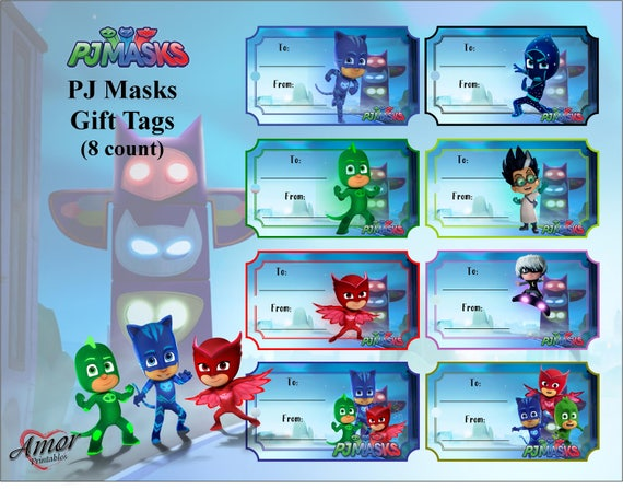 photo about Pj Masks Printable Images titled PJ Masks Present Tags; Printable Present Tags; PJ Masks Printables; Social gathering Printables