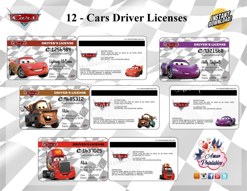 graphic relating to Printable License titled Disney Automobiles Fake Driver License Autos Occasion Disney Printable Cars and trucks  Celebration Like Social gathering Prints Children Printable License