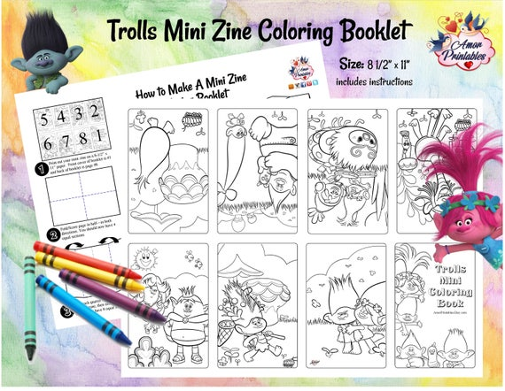 - Trolls Mini Coloring Pages Trolls Party Favor Printable Etsy