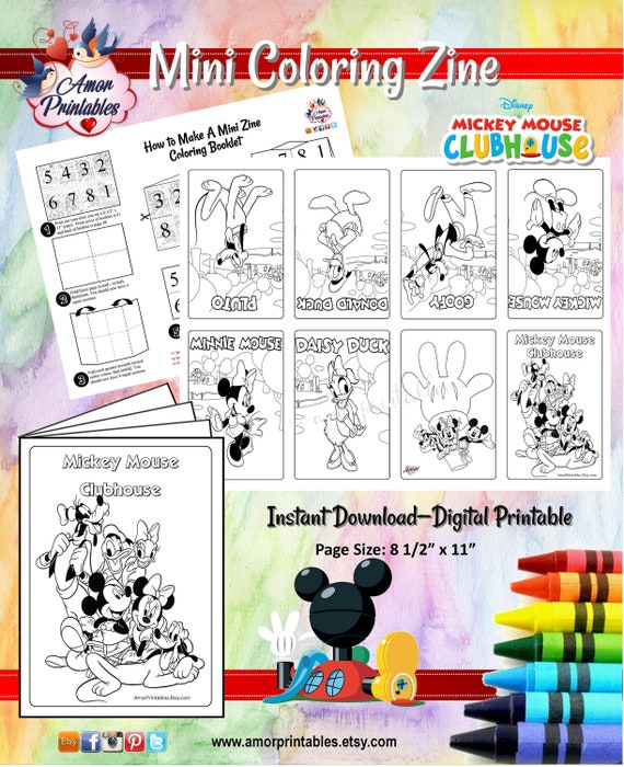 - Mickey Mouse Clubhouse Coloring Pages Mini Zine Coloring Etsy