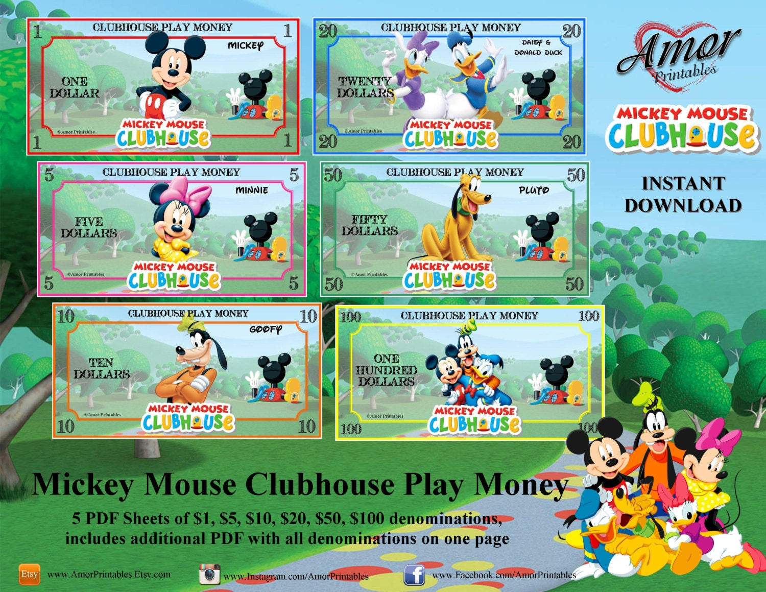 Play Money Mickey Mouse Clubhouse Printable Play Money | Etsy