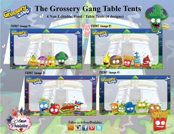 grossery gang printable food tents printable table cards etsy