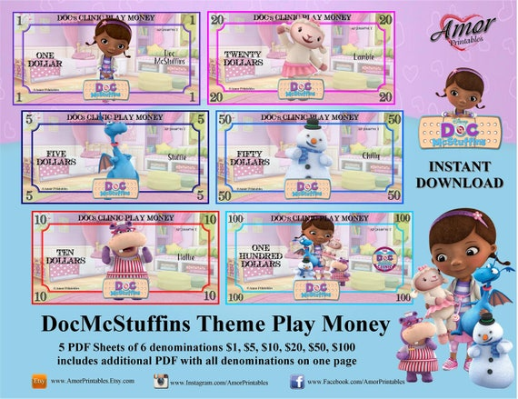 Doc McStuffins Play Money Printable