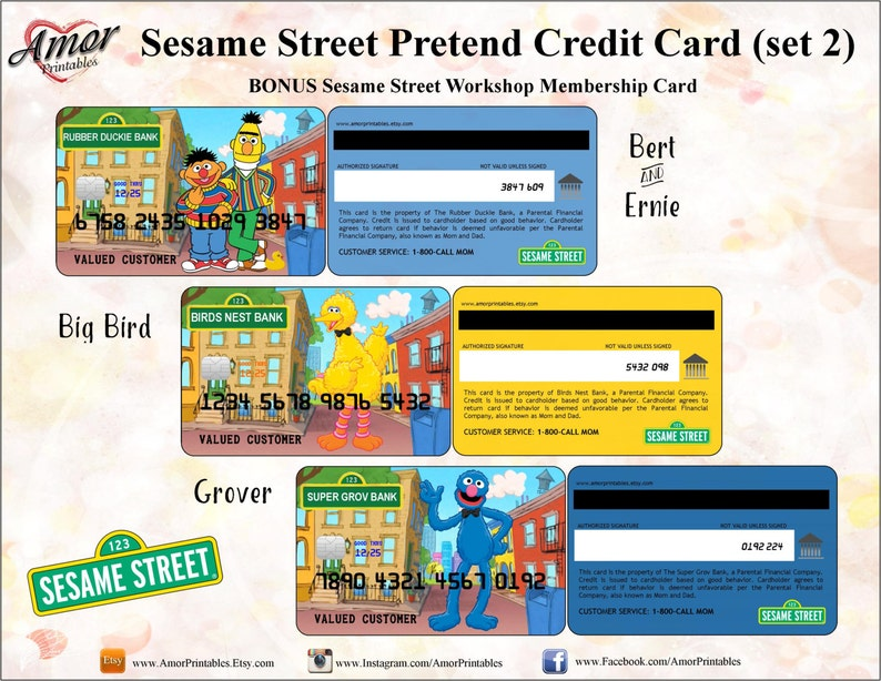 picture about Printable Membership Cards called Sesame Road Credit score Playing cards Subscription Card Sesame Road Printables  Sesame Highway Social gathering Social gathering Printable Bash Want Engage in Funds