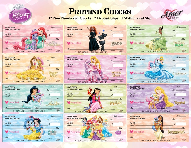 photo relating to Free Printable Pretend Disney Tickets called Disney Princess Phony Perform Exams, Disney Printables, Get together Printables, Printable Game titles, Printable Favors