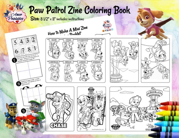 Paw Patrol Coloring Activity Coloring Book Mini Coloring Etsy