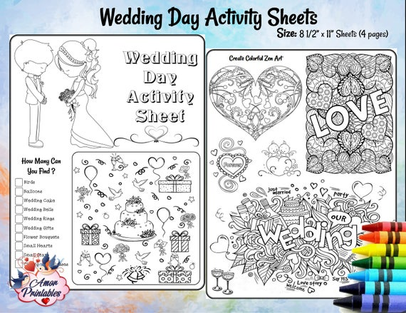 - Wedding Activity Pages Wedding Coloring Pages Kids Etsy