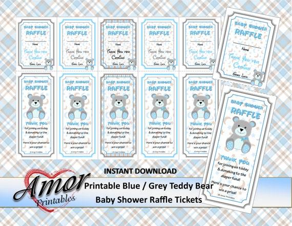 teddy bear baby shower raffle tickets blue grey borders etsy