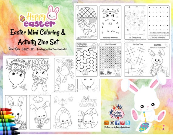 Easter Coloring   Easter Activity Sheet   Easter Coloring Pages   Mini Zine   Mini Coloring Sheet   Mini Activity   Coloring pages