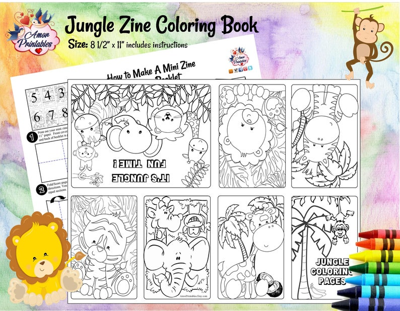 graphic regarding Printable Mini Booklets named Jungle Safari Coloring Internet pages Mini Zine Coloring Webpages Occasion Printable Mini Coloring Web site Coloring E book Video game Webpage Favors