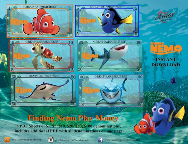 Finding Nemo Play Money bonus Coloring Pages Printable | Etsy