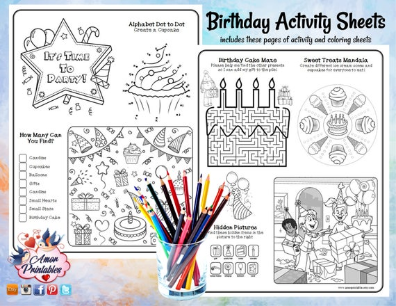 Birthday Activity Pages | Birthday Coloring Pages | Party Activity |  Coloring Book | Coloring Sheet | Party Printable | Kids Coloring