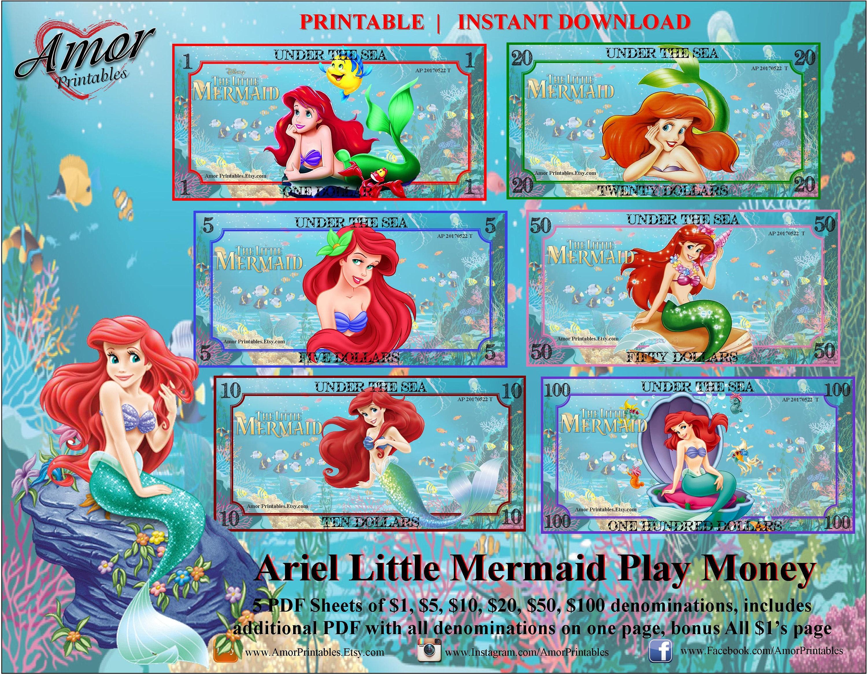 Play Money Little Mermaid Ariel bonus coloring pages | Etsy