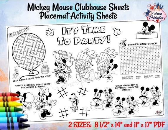 Mickey Mouse Clubhouse Placemat Activity Sheet Birthday Etsy