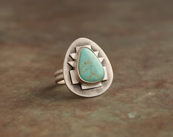 Sterling silver turquoise statement ring inspired by south western jewellery - handmade