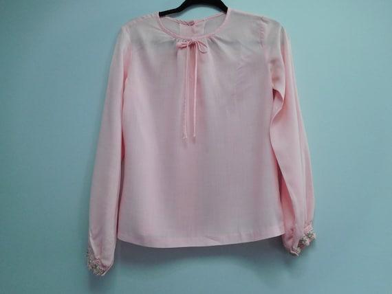 Vintage 1970's Long Sleeve Pink Blouse Size Medium