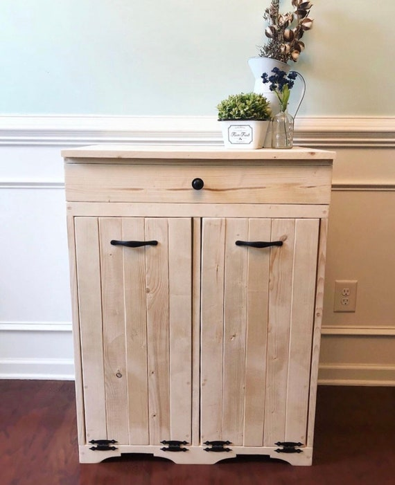 Double Tilt out trash bin with Drawer