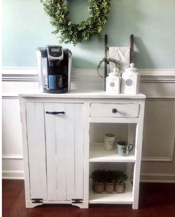 Farmhouse Coffee Bar and Trash Can