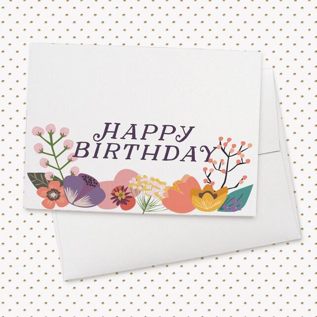Happy Birthday Floral Birthday Card Pretty Card Bday Card Etsy