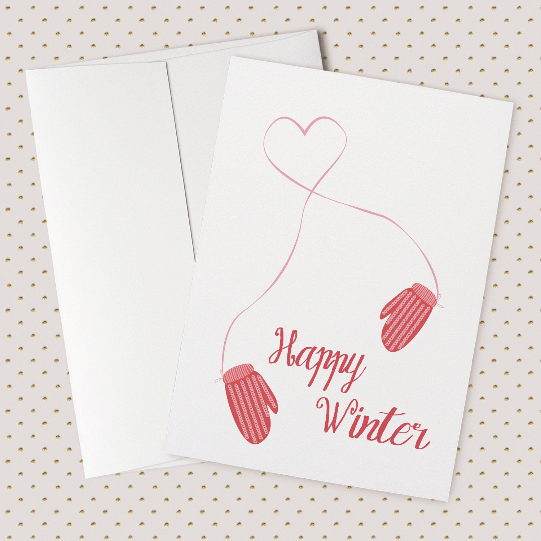 Happy Winter Greeting Card Holidays Christmas Xmas Etsy