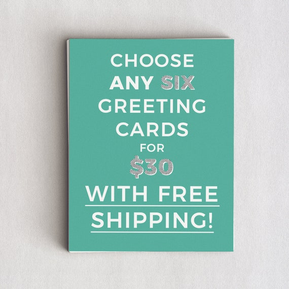 Any Six Greeting Cards FREE SHIPPING Choose Your Own Funny