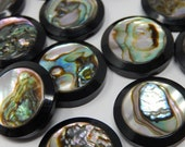 Twelve black plastic buttons covered with mother of pearl, diameter 1,8 cm, free shipping