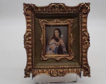 old miniature painting, female portrait