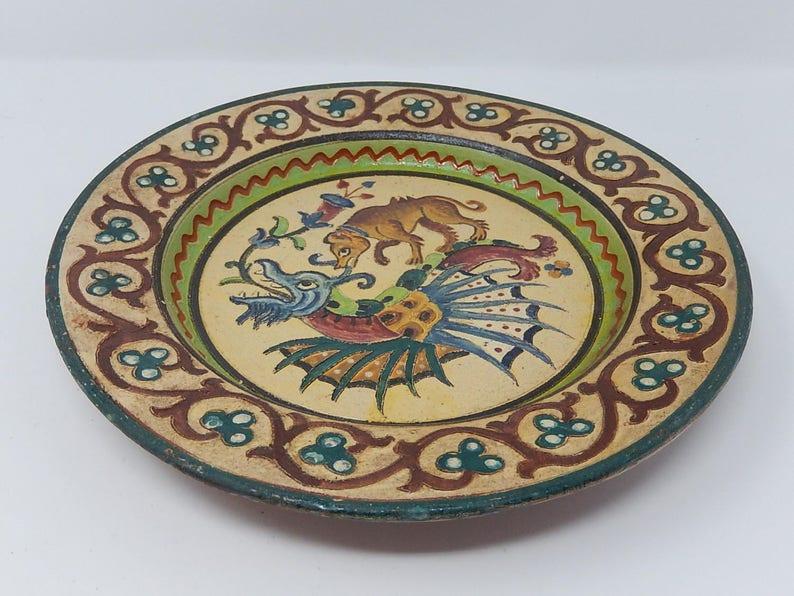 27 cm Large dish with zoomorphic decor Italian ceramic diameter