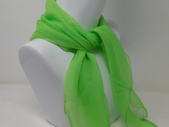 scarf, vintage square of neon green silk