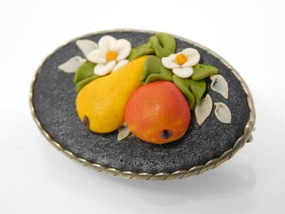 vintage leather fruit brooch