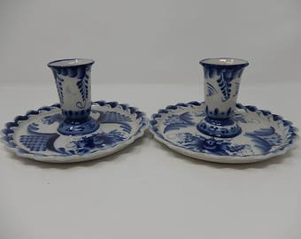 Old Pair of Russian Blue Porcelain Candlestick